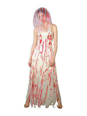 Ladies Zombie Bride Wedding Horror Halloween Scary Fancy Dress Costume Brand New (Scary Bride Costumes)