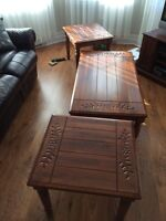 Set of coffee table and 2 end tables