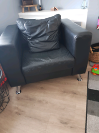 Real leather chair and foot stool