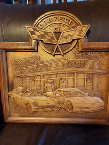 50th anniversary corvette wood carving.