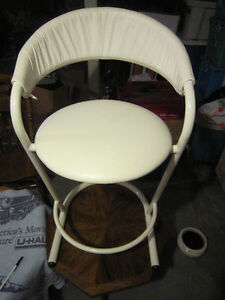 2 white leather bar stools