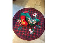 2 Luxurious Velvet Christmas Stockings & Christmas Tree Skirt NEW