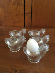 Vintage 5 WMF Glass Rooster Egg Cups. made in Germany.