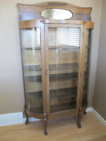 Antique China Cabinet - Curved Glass  Early 20th Century