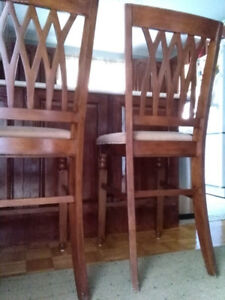 2x Mahogany Chairs Bar Stools