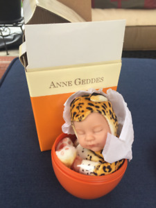 New In Box Anne Geddes Nb Baby Leopard Doll Orange Egg, rare
