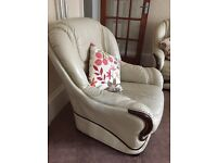 Cream leather sofa and 2 arm chairs with foot stool