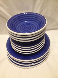12 Piece Set of Royal Blue Italian Made Ceramic Dinnerware
