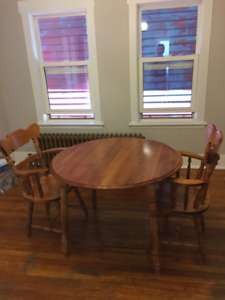 Solid Maple Dining Room Table With Two Chairs