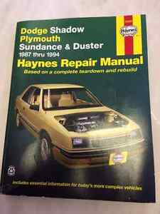 1987 - 1994 Dodge Shadow, Plymouth Sundance Duster repair manual