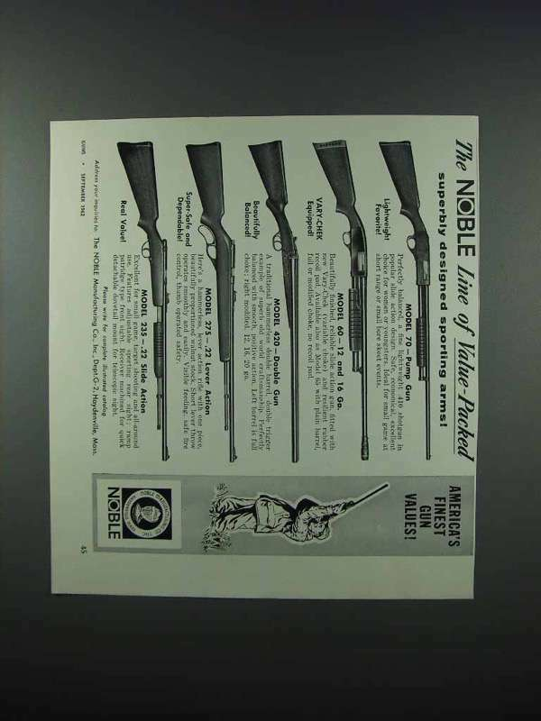 1962 Noble Shotgun & Rifle Ad - 70 60 420 275 235