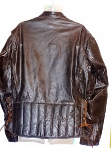 """XXL TALL HEAVY MOTORCYCLE JACKET MENS BROWN 52"""""""