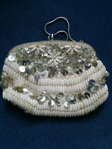 1950's ANTIQUE BEADED SEQUINED PEARL EVENING BAG/MAKEUP