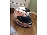 Pink flower design ls2 motorbike moped racing helmet to cover head ✨ small