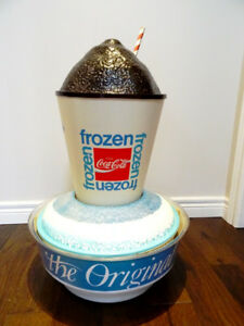 see video 1969ish FROZEN COKE rotating STORE DISPLAY light-up