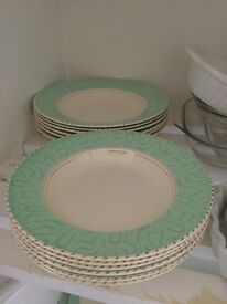Balmoral Burleigh 27 piece dinner set Cream with green pattern edge