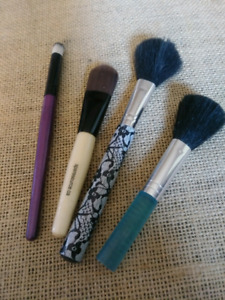 Mix of makeup brushes