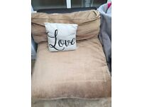 Leather and fabric chaise longue
