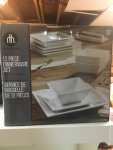 Trendy square plates and bowls; 12-piece dinnerware set