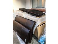 King size leather slay bed