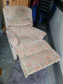 Recliner Chair -Quality Extra Comfy Floral Fabric Manual Recliner Chai