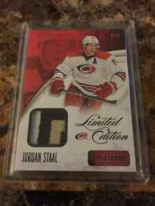 Hockey card lot of 2 Jordan Staal patch and jersey, rare!