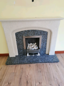 Marble gas fire and surround
