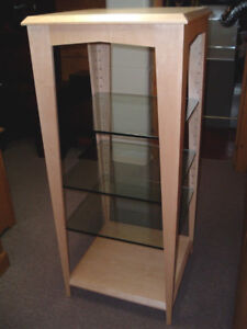 2 SOLID Maple DISPLAY Stands, TEMPERED Glass Shelves, BEAUTIFUL!
