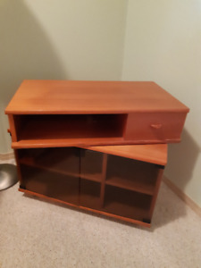 Rotating TV stand and storage unit.