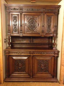 1800's ANTIQUE FRENCH RENAISSANCE WALNUT CABINET with HUTCH