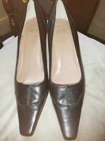 M&S Black leather court shoe 4.5 ONLY WORN ONCE