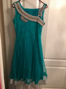 Teal Anarkali Suit with crystal beading