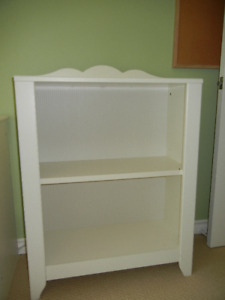 Child's white IKEA book/toy shelves