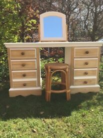 Lovely pine dressing table mirror & stool
