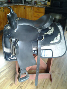 "Used Black Leather Saddle -Updated info. SQHB with 16"" Seat"