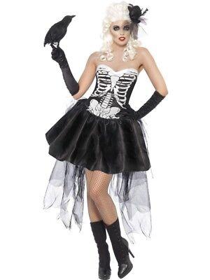 SMI - Damen Kostüm Gothic Märchen Mädchen schwarz-weiß Halloween ()