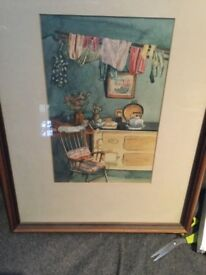 Framed watercolour by Gower local artist Heather Llittlejohn