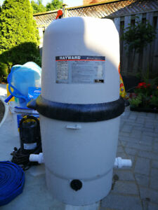Swimming pool filters, ladders, drain pump, chemicals, etc