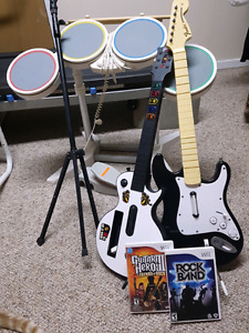 Wii-Rock Band and Guitar Hero