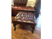 Custom made ox blood red 2x3 seater Chesterfield with matching footstool