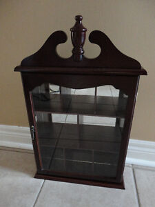 Solid wooden wall hanging curio display cabinet London Ontario image 2