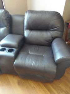 Dual Leather Rocking Recliner - Loveseat