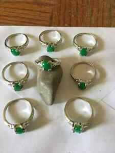 Silver and jade ring