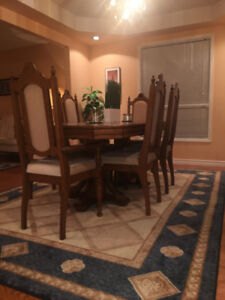 Extendable Dining Table, Buffet and Hutch & Rug
