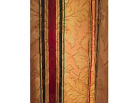 Damask Cotton Curtains L 295 X W 325 Cm Bay Window Gold Red Green Blue Blackout Lining Vgc
