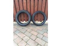Pair Dunlop motorbike tyres