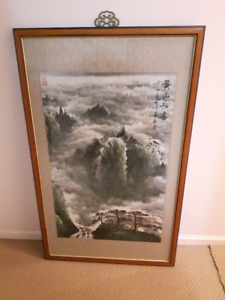 Frame Chinese Large Vintage Painting
