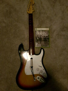 Wireless Rock Band Guitar for XBOX 360 with Beatles game '