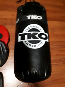 TKO punching bag with gloves training pads skipping rope chains