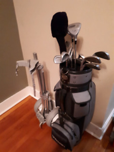 Set of Spalding Golf Clubs, Golf bag, and Pull Cart